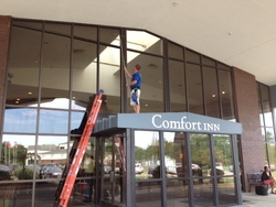 Squeaky Clean Commercial Window Cleaning at the Comfort Inn in Downtown Canton